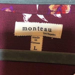 Monteau Tops - Monteau Burgundy Floral Top Size Large